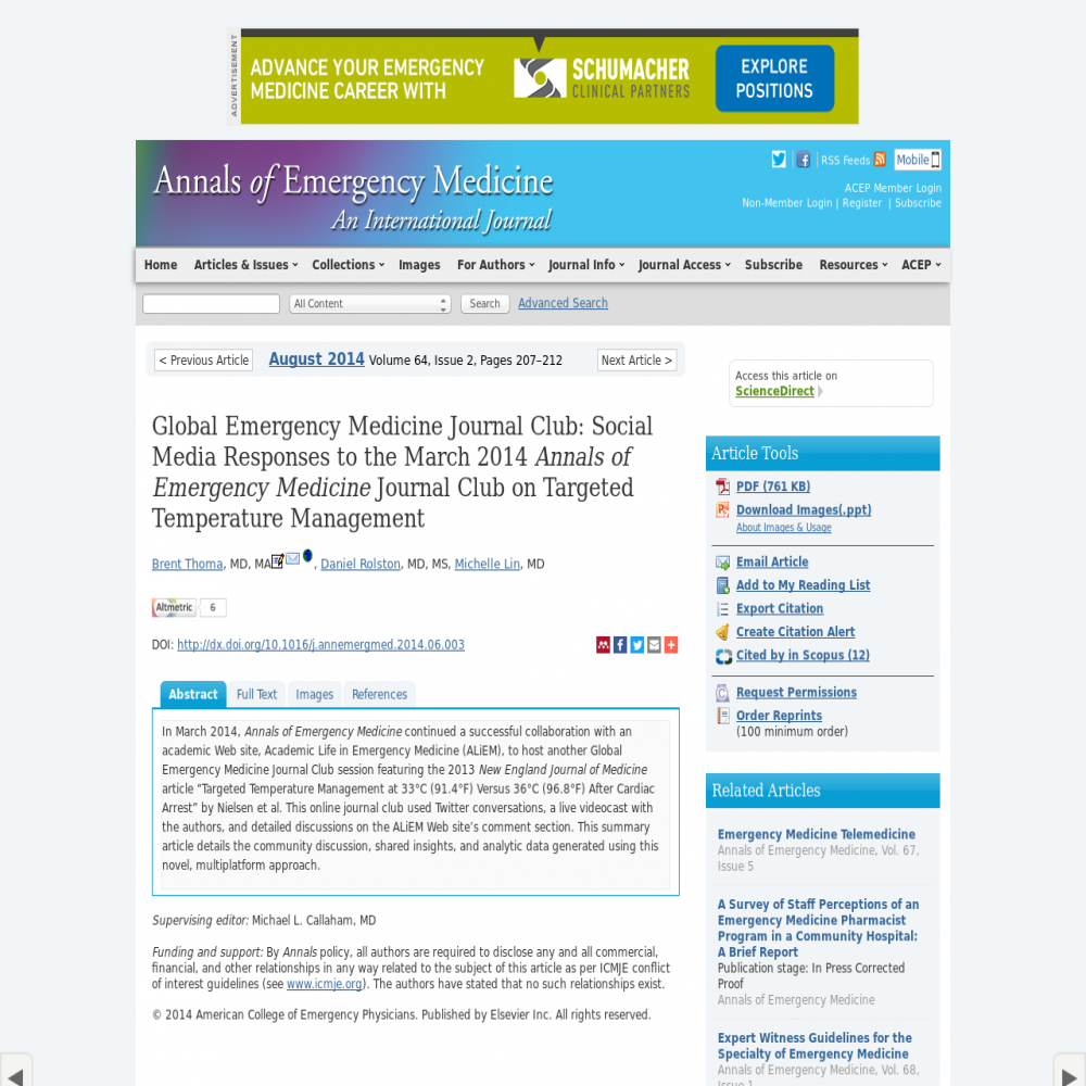 A healthcare social media research article published in Annals of Emergency Medicine, August 1, 2014