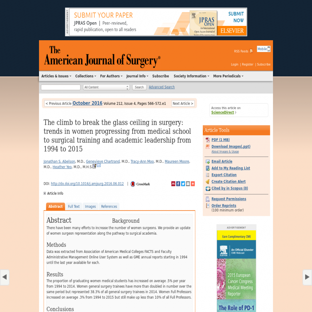A healthcare social media research article published in The American Journal of Surgery, 2016