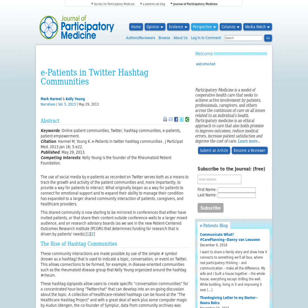 A healthcare social media research article published in Journal of Participatory Medicine, 2013