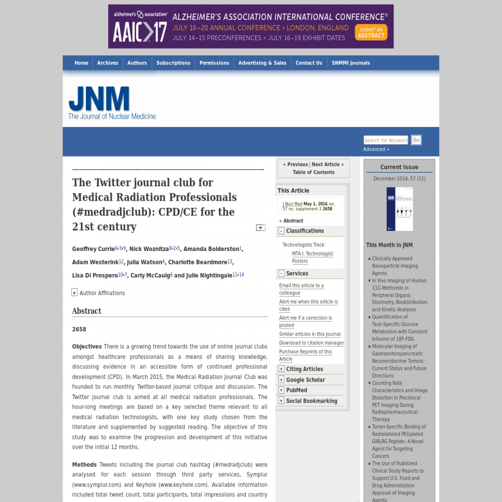 A healthcare social media research article published in Journal of Nuclear Medicine, 2016