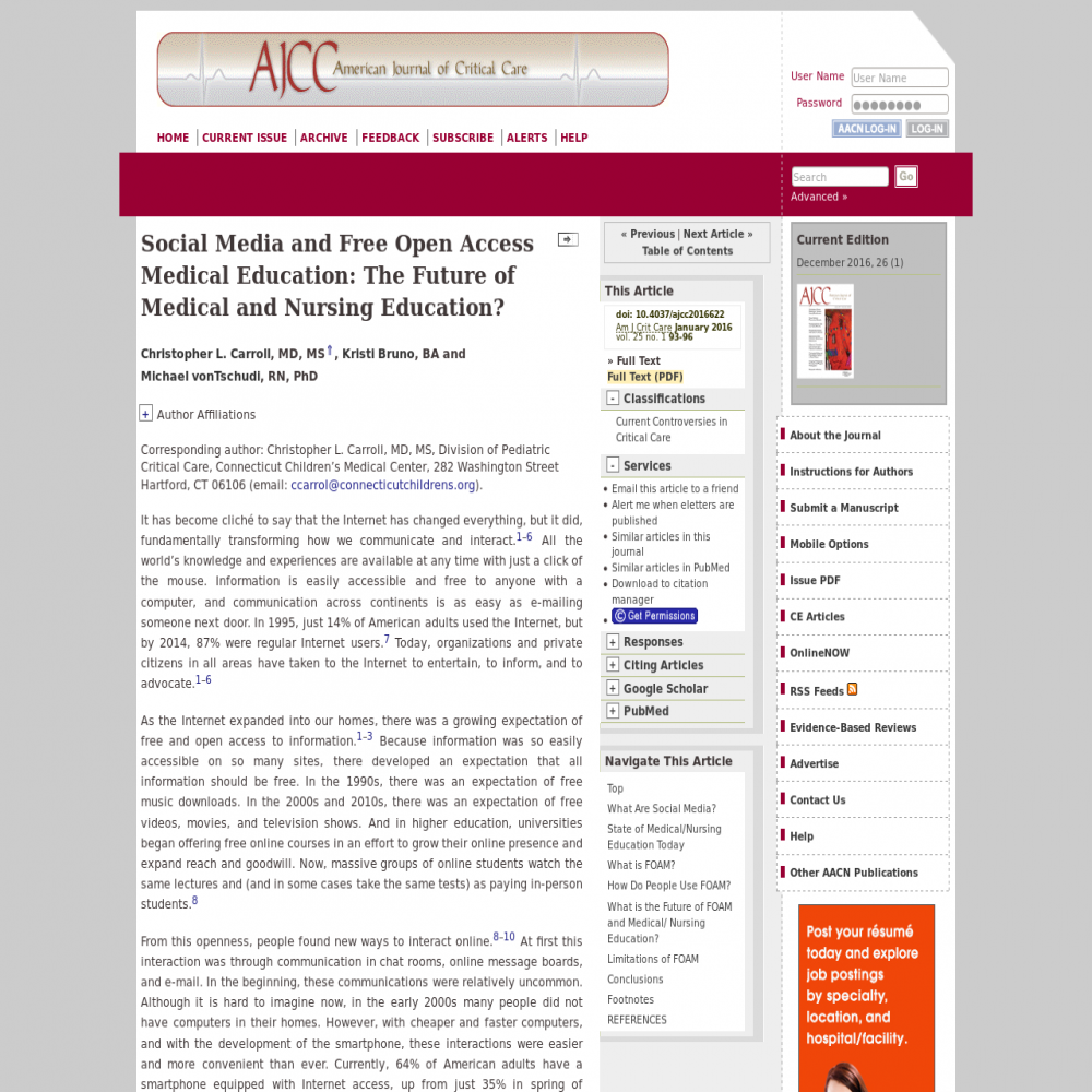 A healthcare social media research article published in American Journal of Critical Care, December 31, 2015