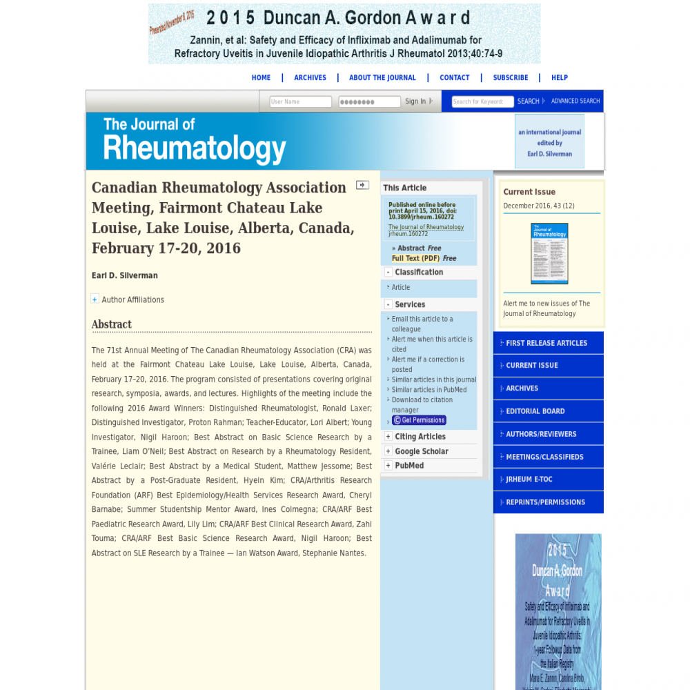 A healthcare social media research article published in The Journal of Rheumatology, 2016