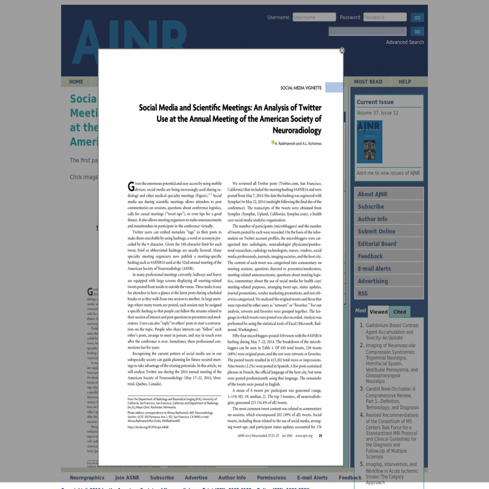 A healthcare social media research article published in American Journal of Neuroradiology, November 26, 2014