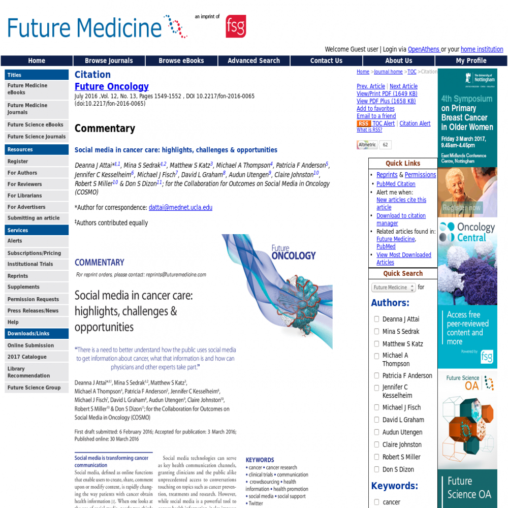 A healthcare social media research article published in Future Oncology, 2016