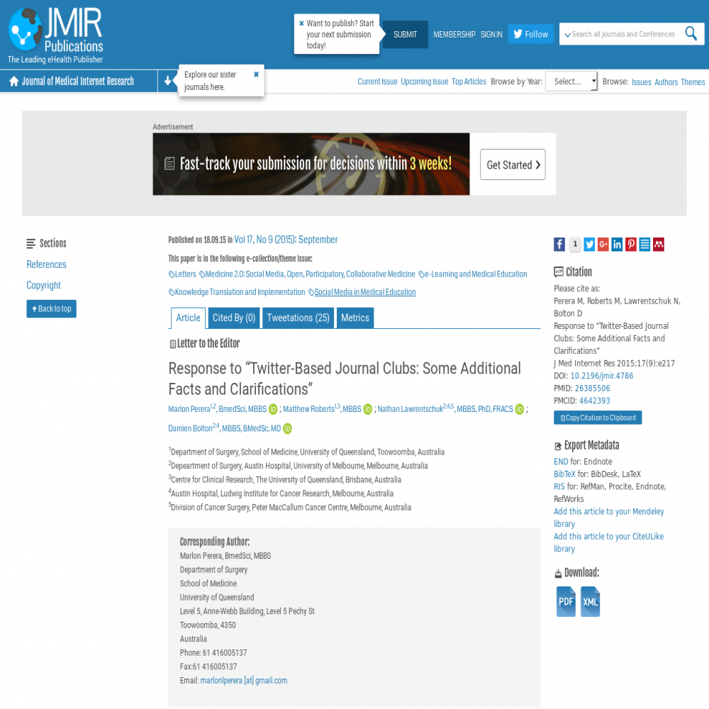 A healthcare social media research article published in Journal of Medical Internet Research, December 31, 2014