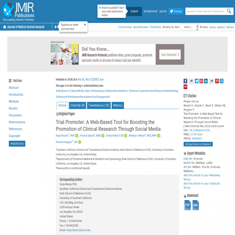 A healthcare social media research article published in Journal of Medical Internet Research, 2016