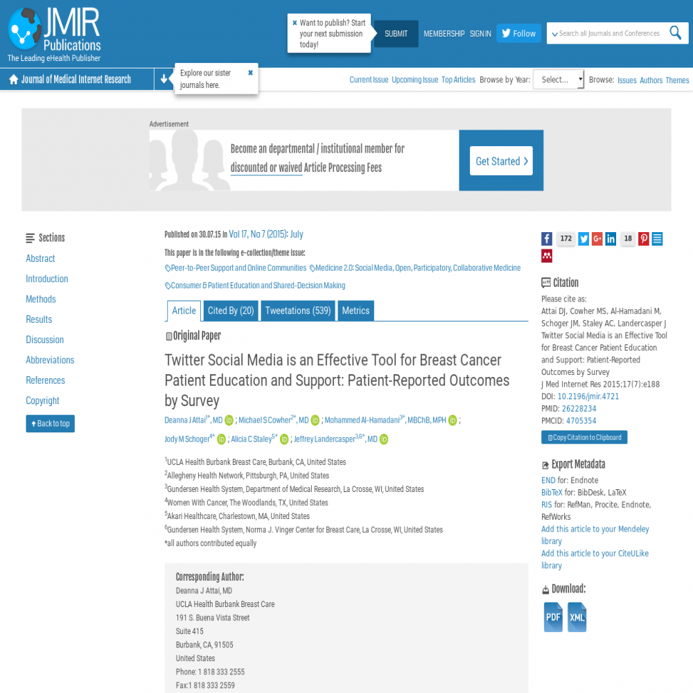 A healthcare social media research article published in Journal of Medical Internet Research, July 29, 2015