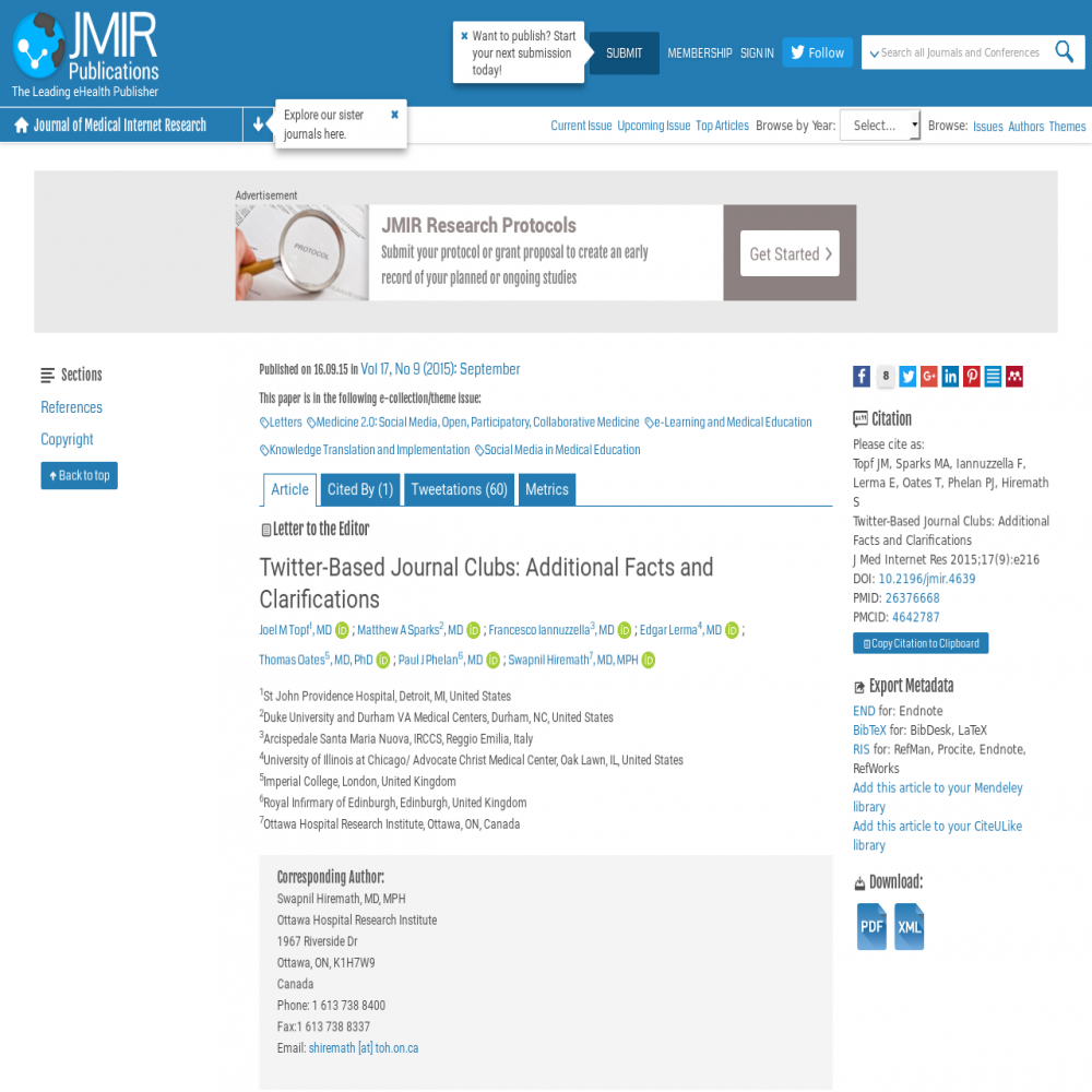 A healthcare social media research article published in Journal of Medical Internet Research, 2015