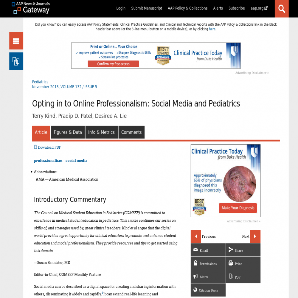 A healthcare social media research article published in Pediatrics, October 20, 2013