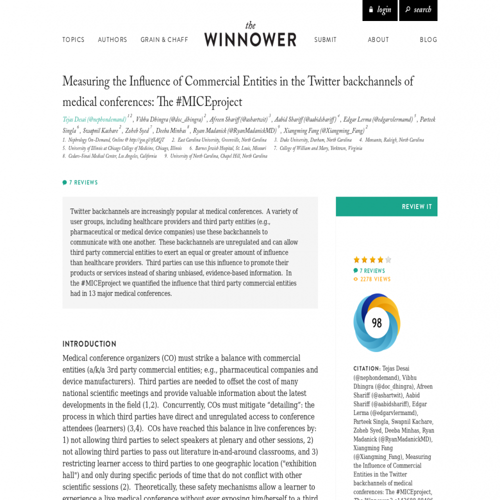 A healthcare social media research article published in The Winnower, July 12, 2015