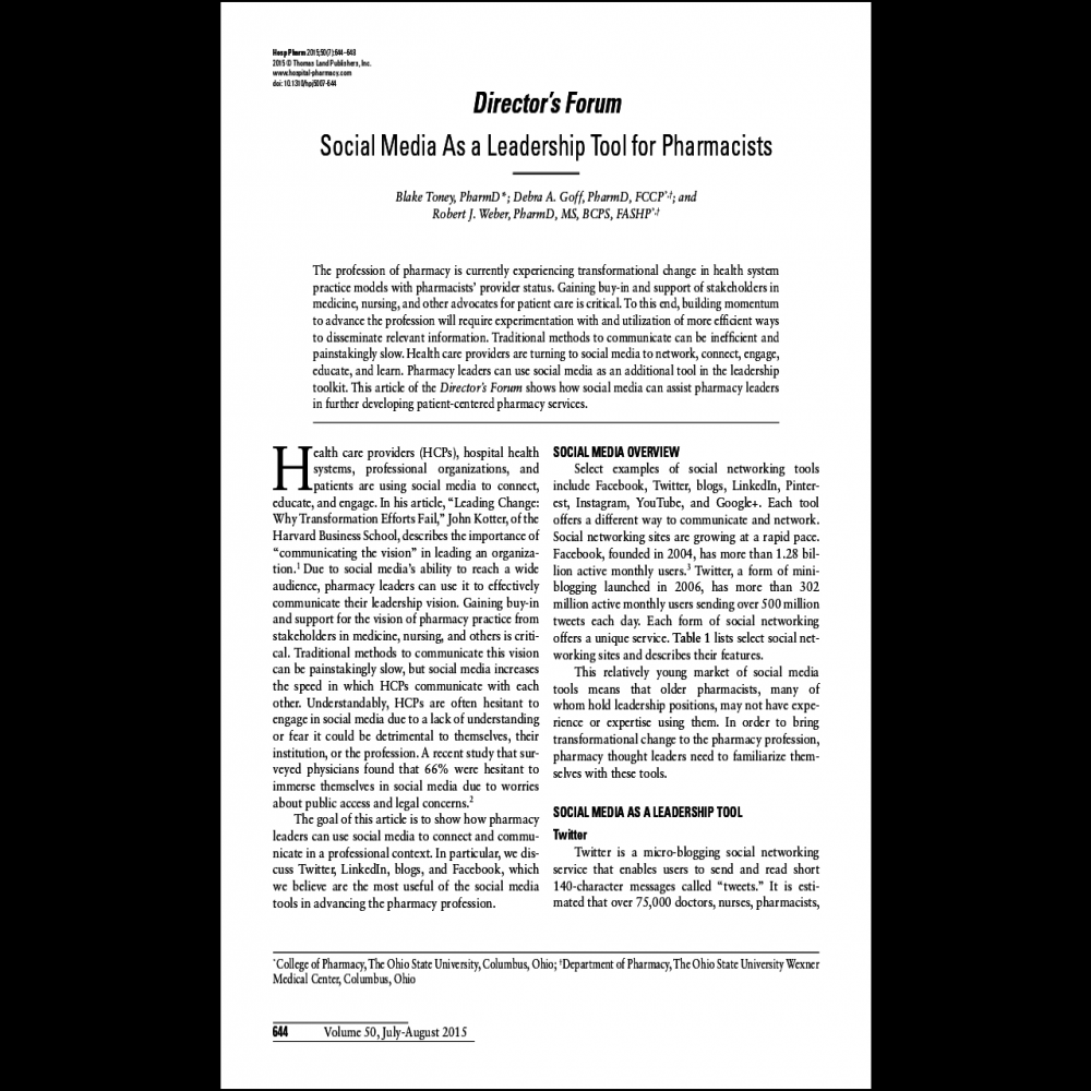A healthcare social media research article published in Hospital Pharmacy, 2015
