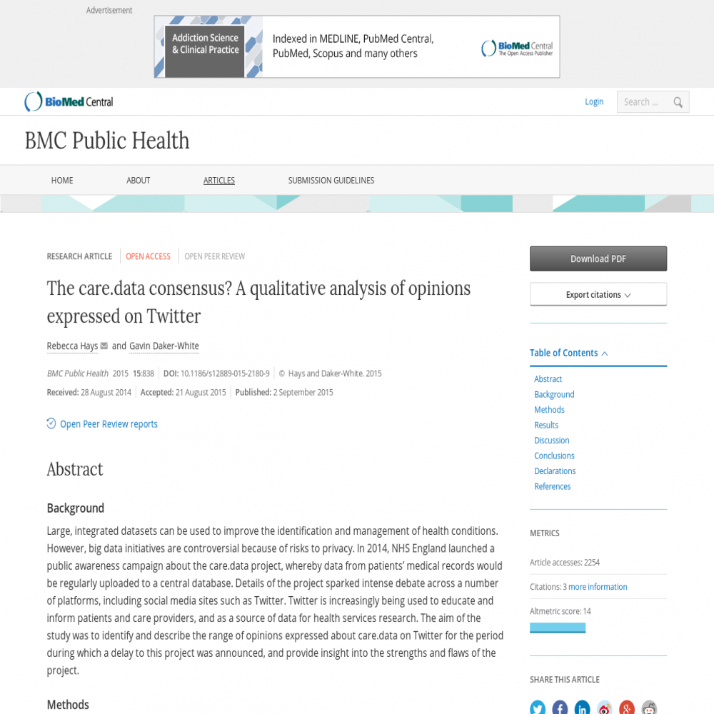 A healthcare social media research article published in BMC Public Health, September 1, 2015