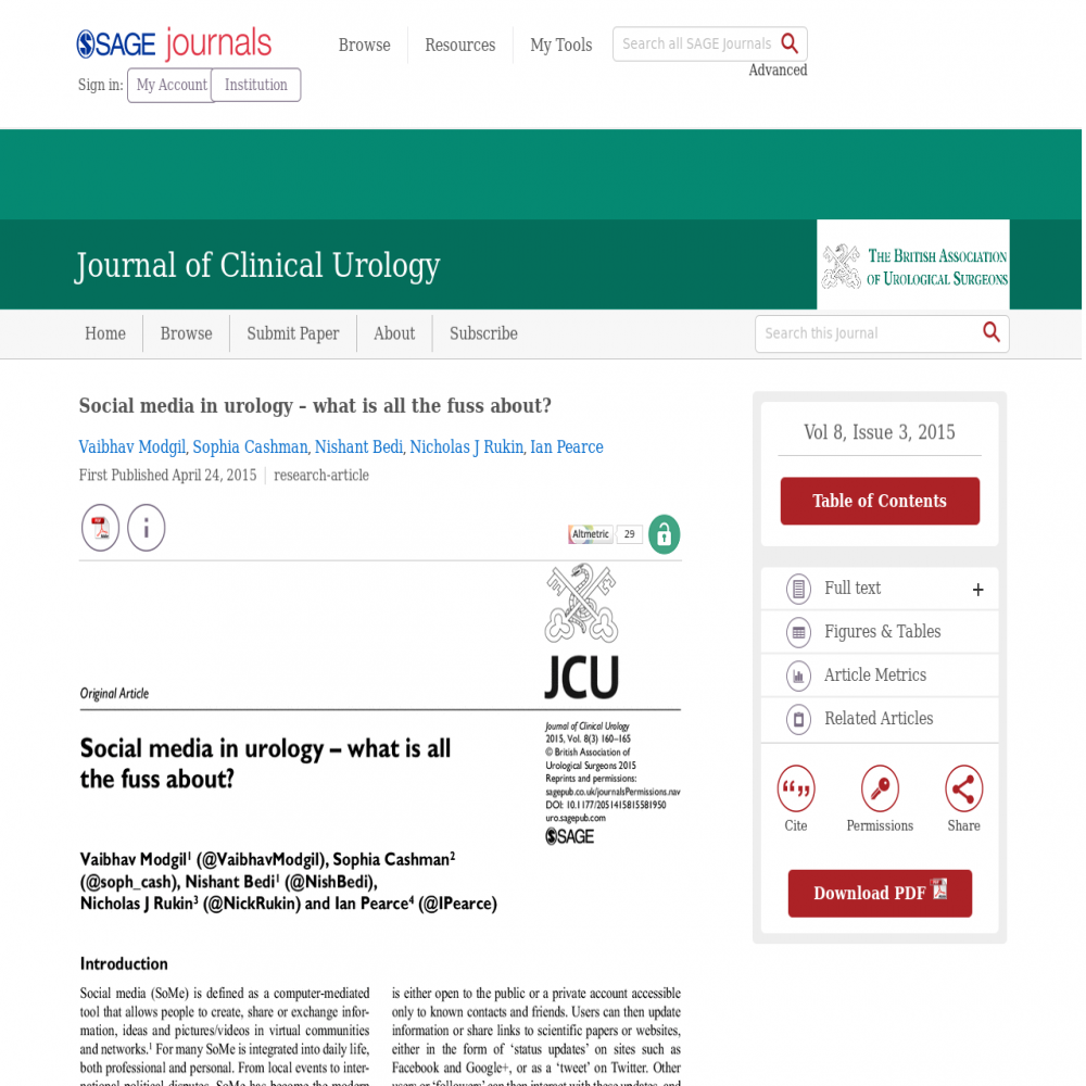 A healthcare social media research article published in Journal of Clinical Urology, April 23, 2015