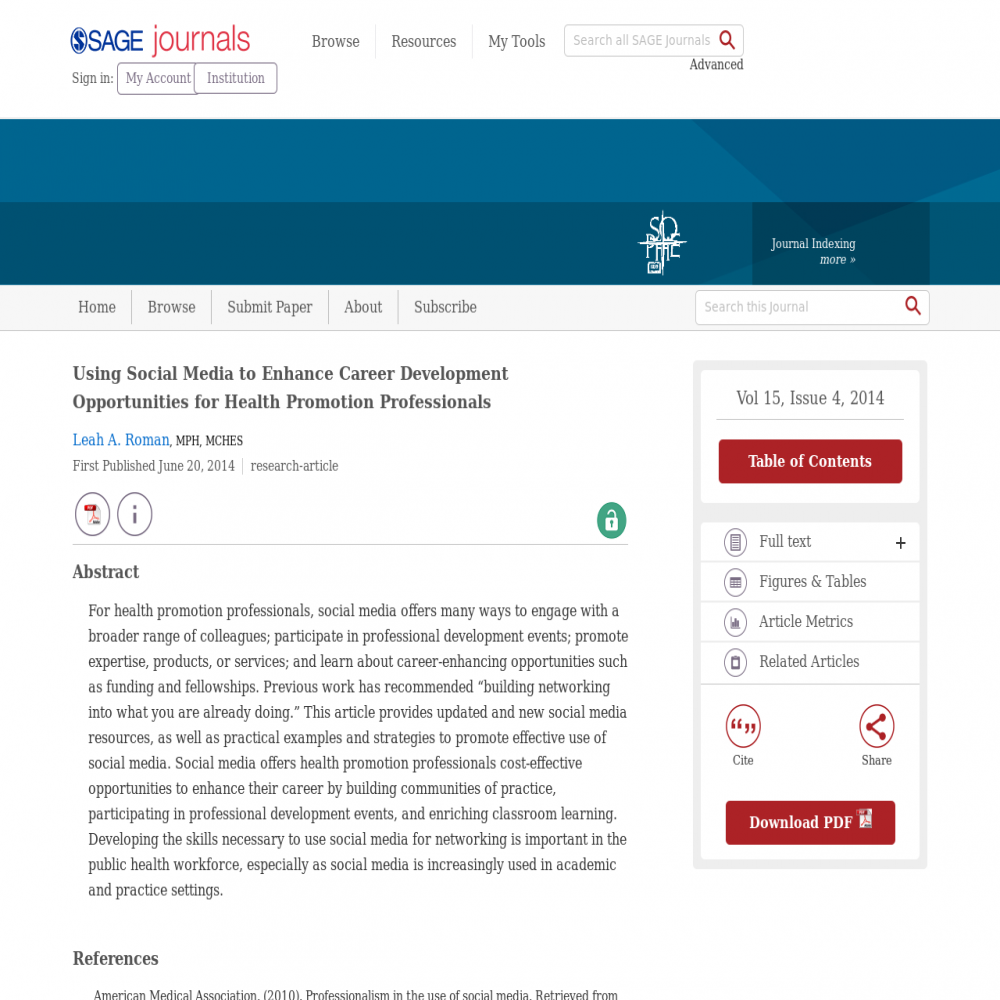 A healthcare social media research article published in Health Promotion Practice, June 19, 2014