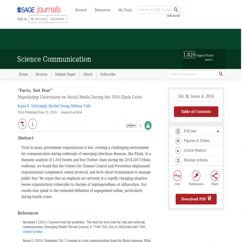 A healthcare social media research article published in Science Communication, 2016