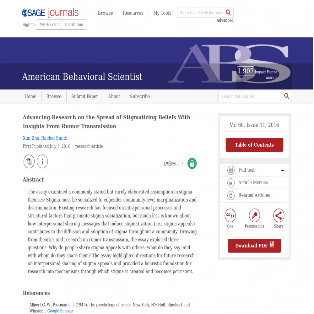 A healthcare social media research article published in American Behavioral Scientist, July 7, 2016