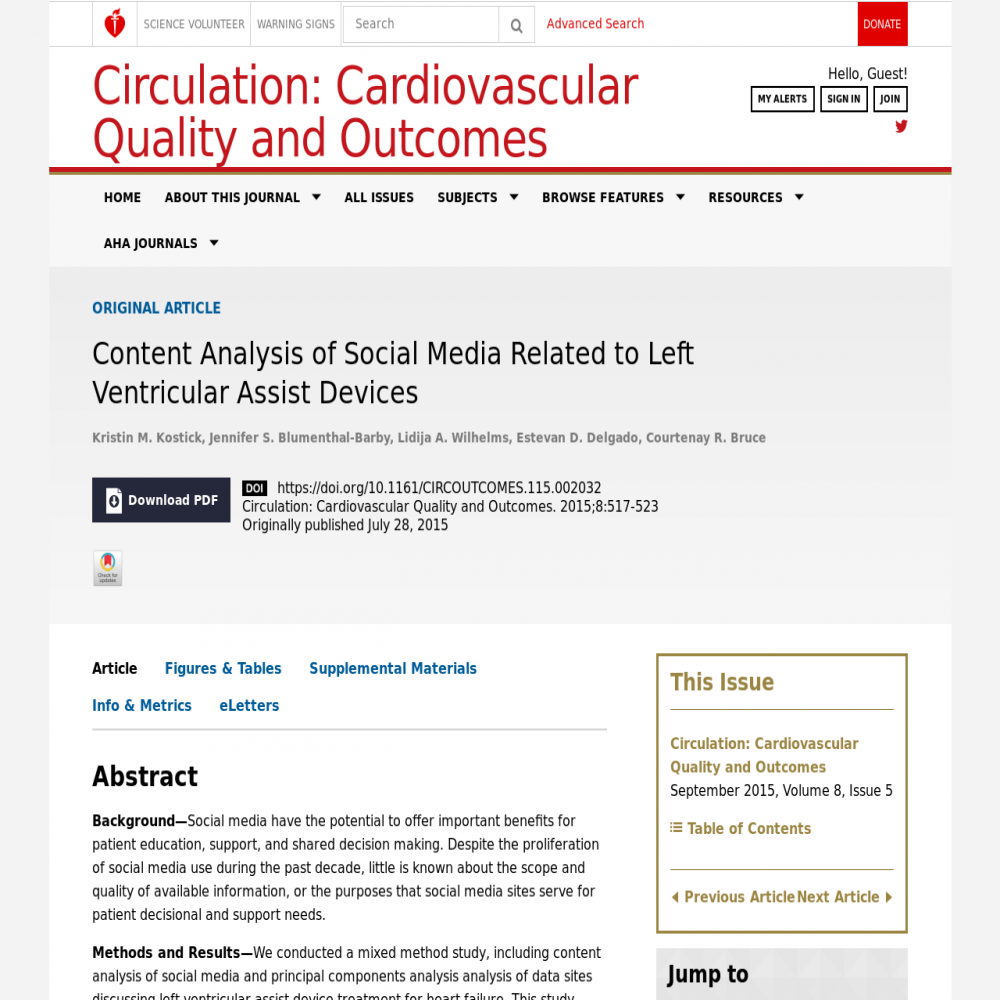 A healthcare social media research article published in Circulation: Cardiovascular Quality & Outcomes, July 27, 2015