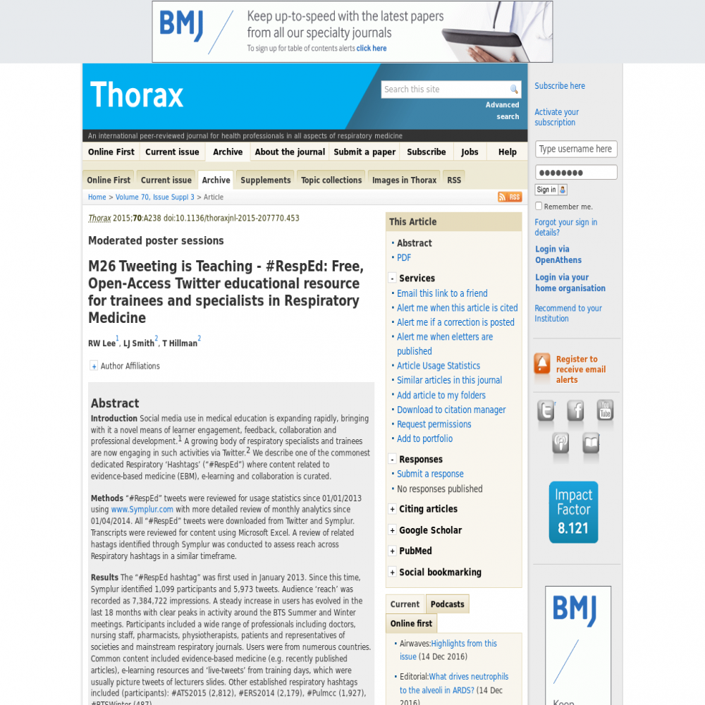 A healthcare social media research article published in Thorax, 2015