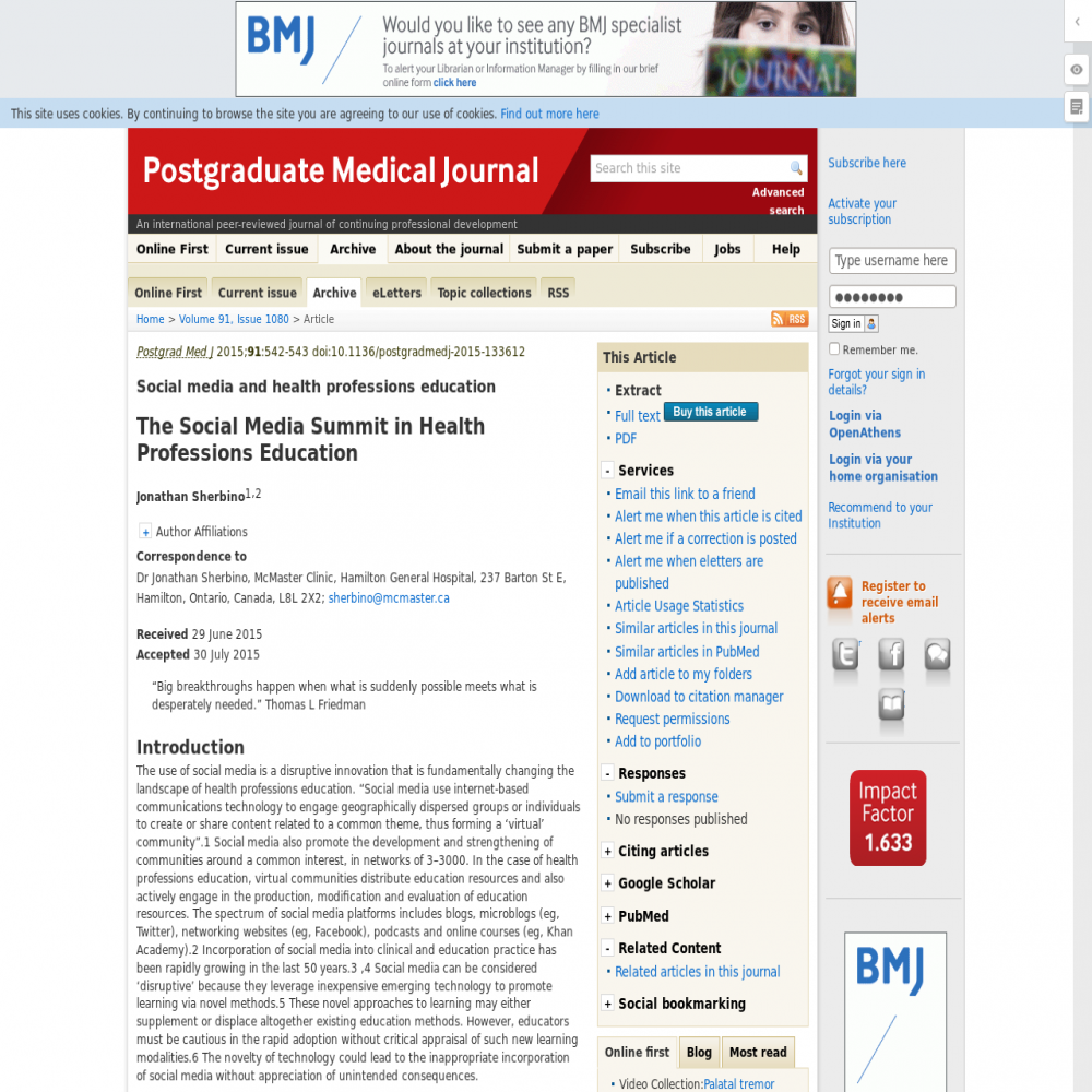 A healthcare social media research article published in Postgraduate Medical Journal, 2015