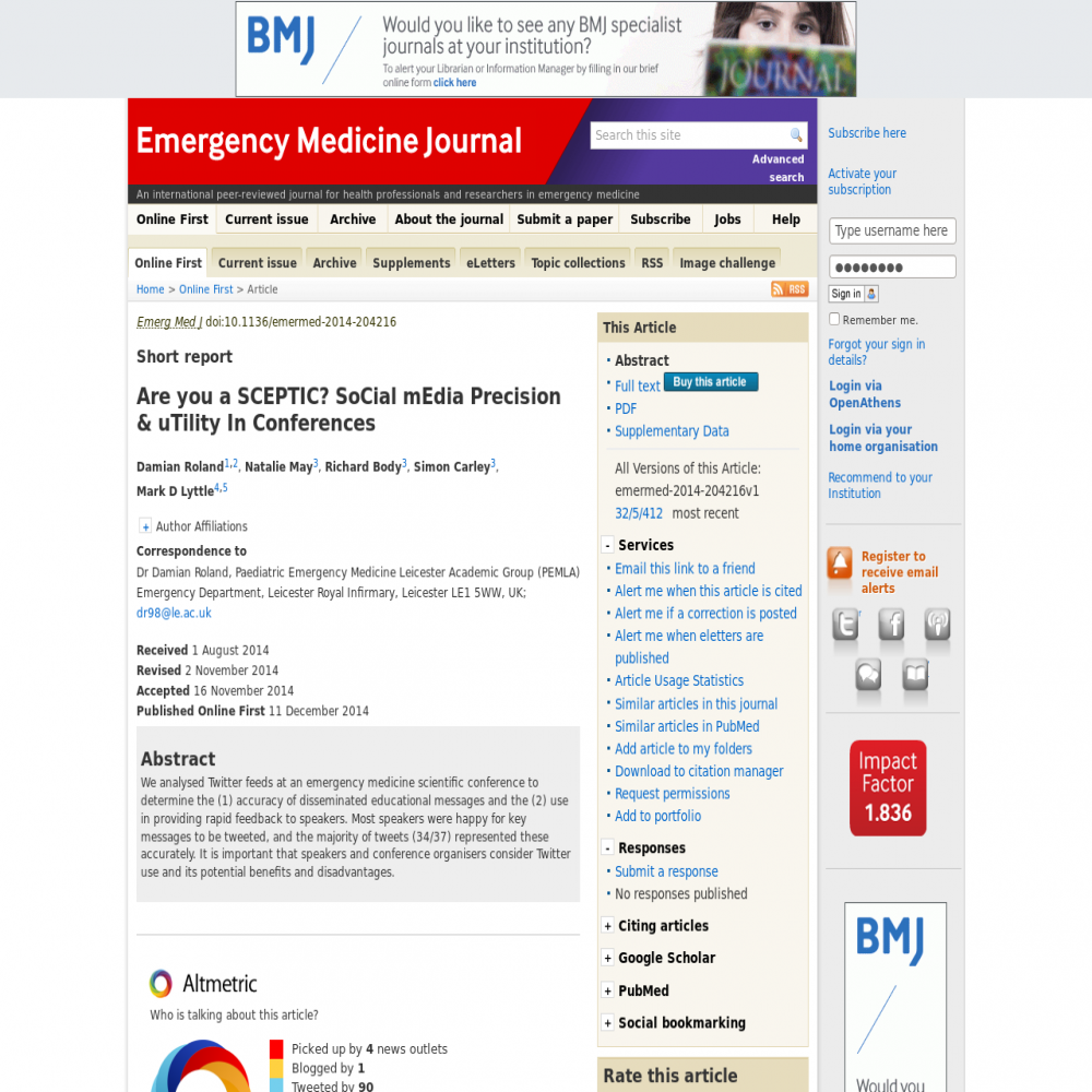 A healthcare social media research article published in Emergency Medicine Journal, December 10, 2014