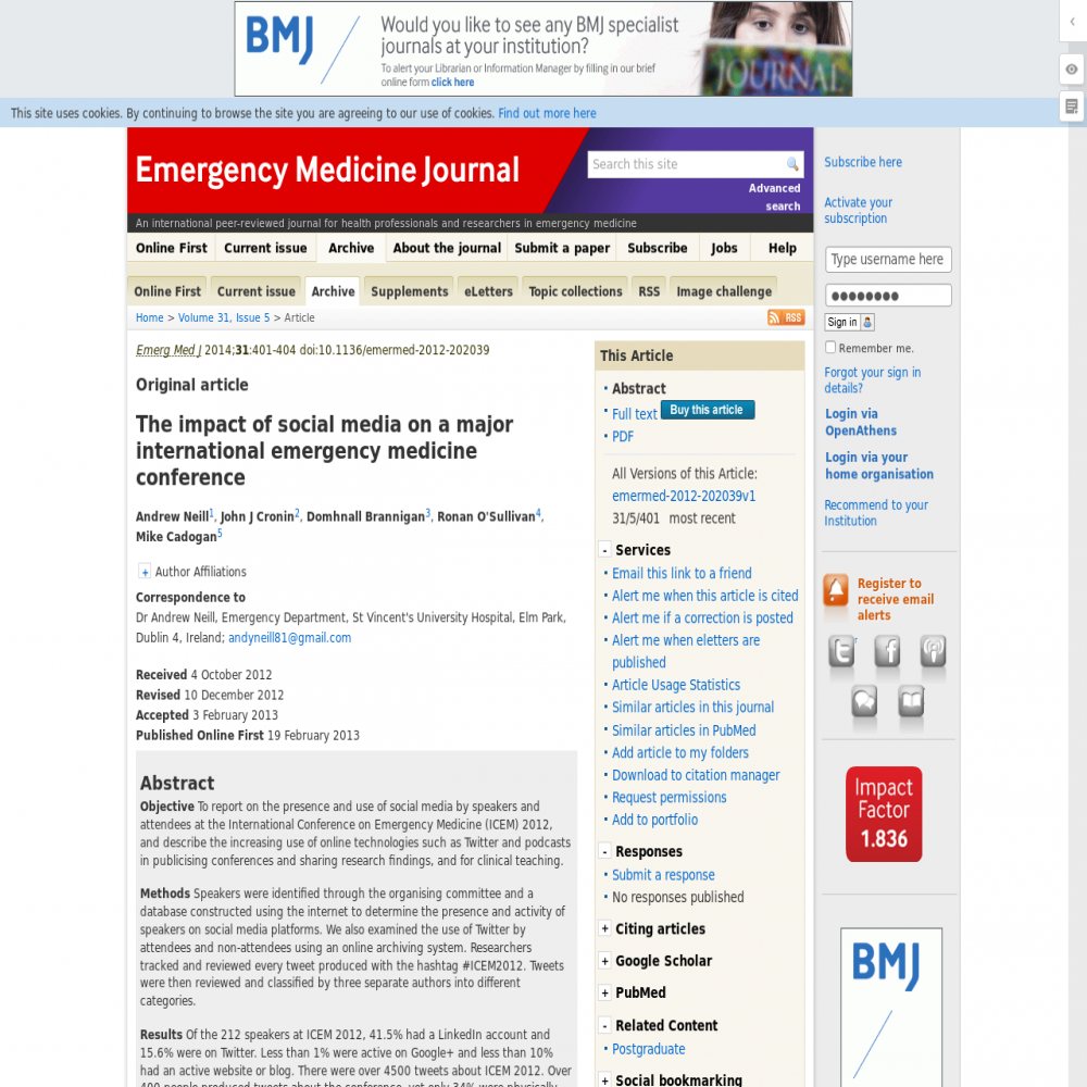 A healthcare social media research article published in Emergency Medicine Journal, February 18, 2013