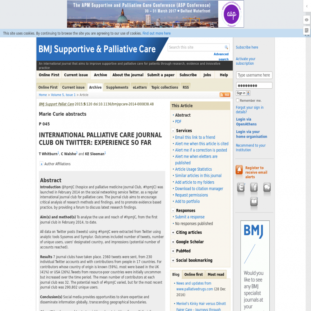 A healthcare social media research article published in BMJ Supportive and Palliative Care, February 28, 2015