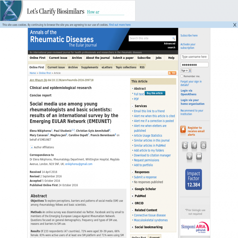 A healthcare social media research article published in Annals of the Rheumatic Diseases, October 23, 2016
