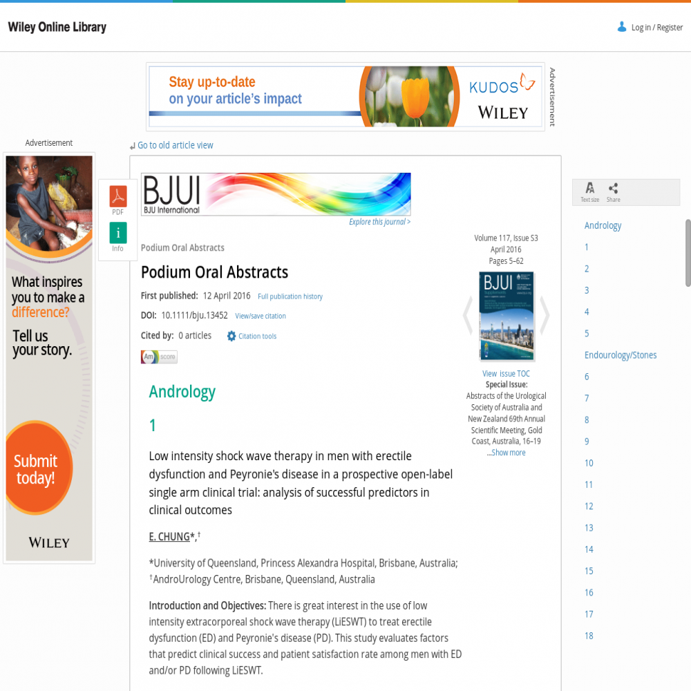 A healthcare social media research article published in BJU International, 2016