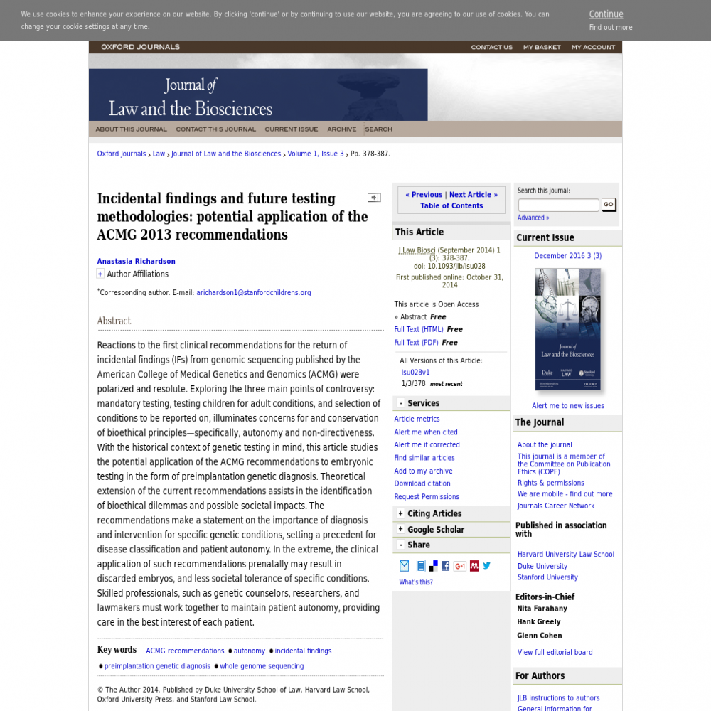 A healthcare social media research article published in Journal of Law and the Biosciences, 2014