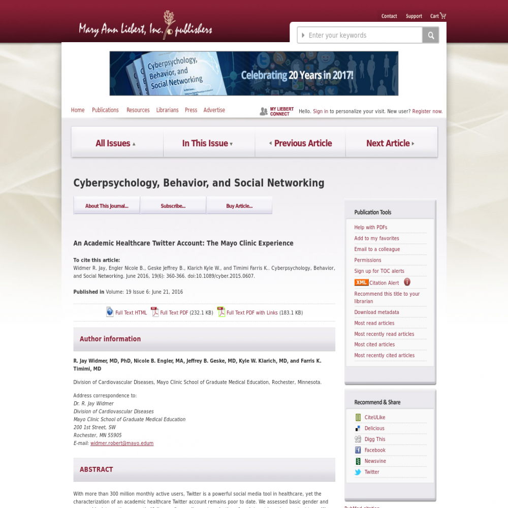 A healthcare social media research article published in Cyberpsychology, Behavior, and Social Networking, 2016