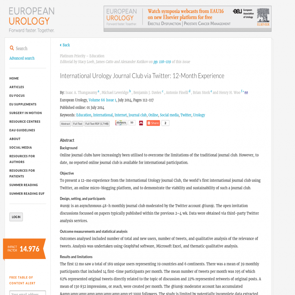 A healthcare social media research article published in European Urology, June 30, 2014