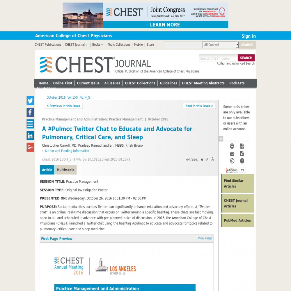 A healthcare social media research article published in CHEST, September 30, 2016