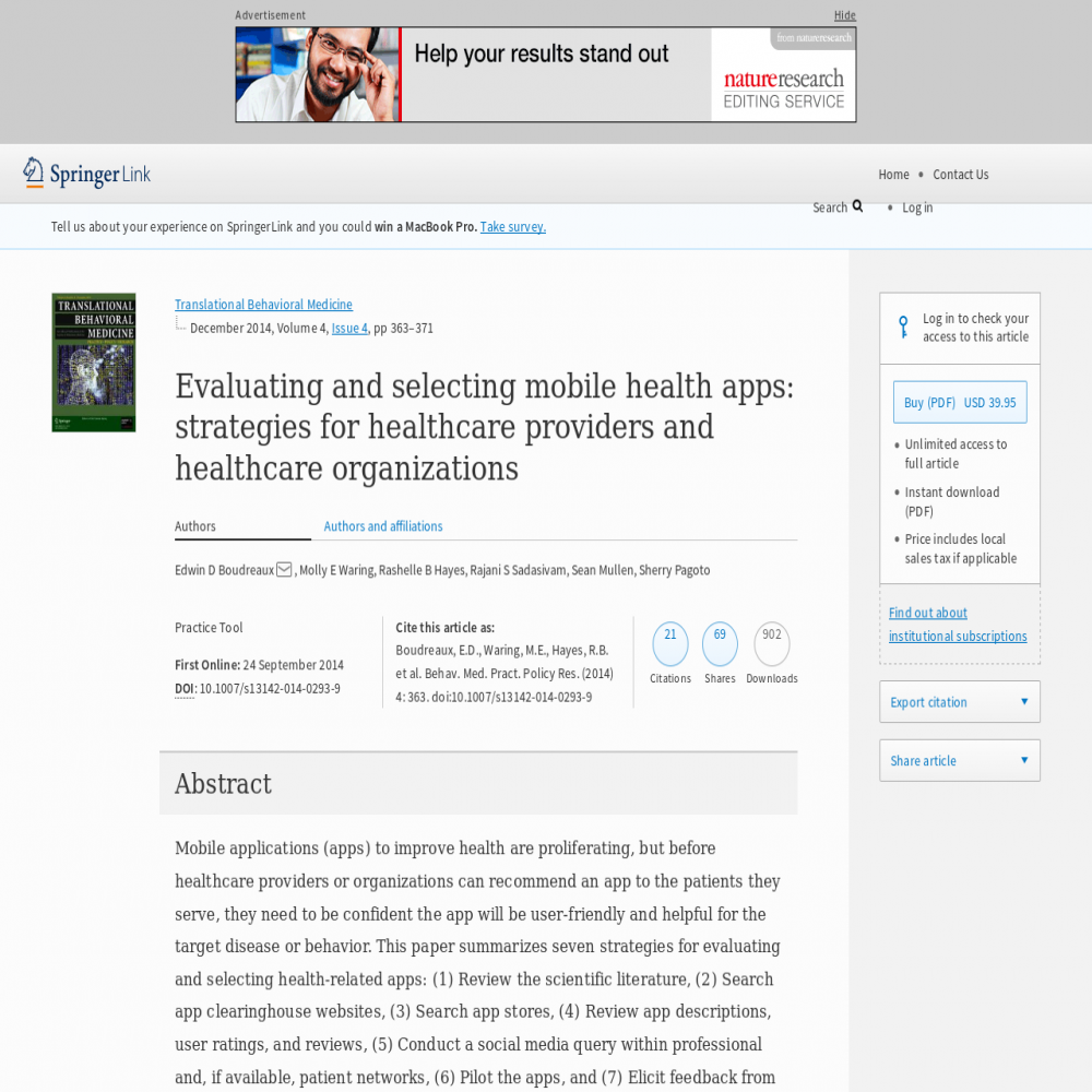A healthcare social media research article published in Translational Behavioral Medicine, September 23, 2014