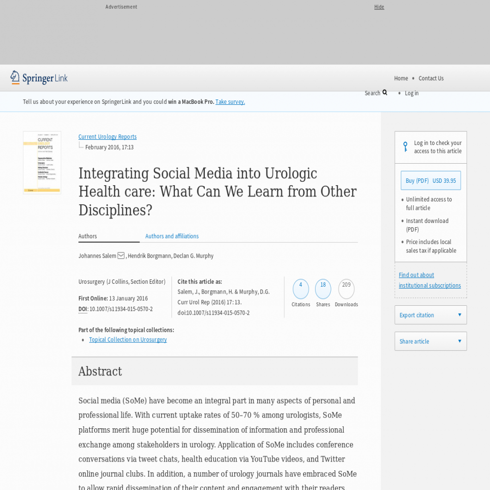 A healthcare social media research article published in Current Urology Reports, 2016