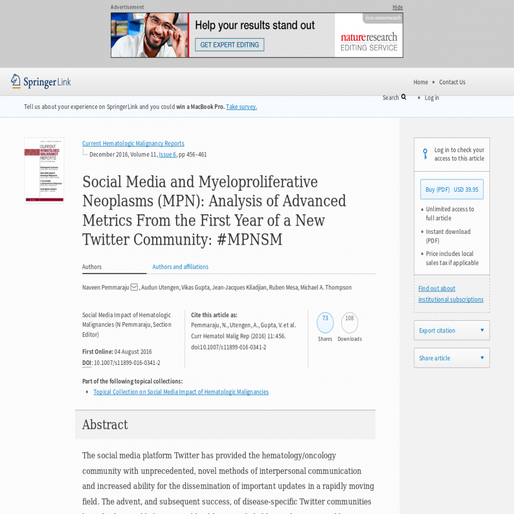 A healthcare social media research article published in Current Hematologic Malignancy Reports, August 3, 2016