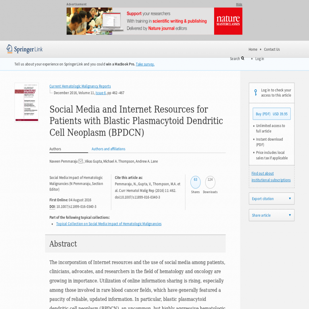 A healthcare social media research article published in Current Hematologic Malignancy Reports, August 4, 2016