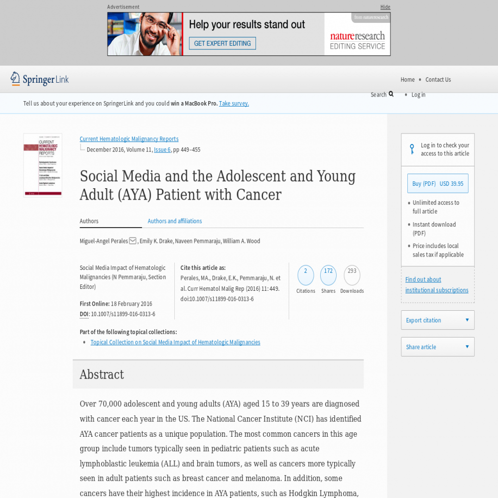 A healthcare social media research article published in Current Hematologic Malignancy Reports, February 17, 2016