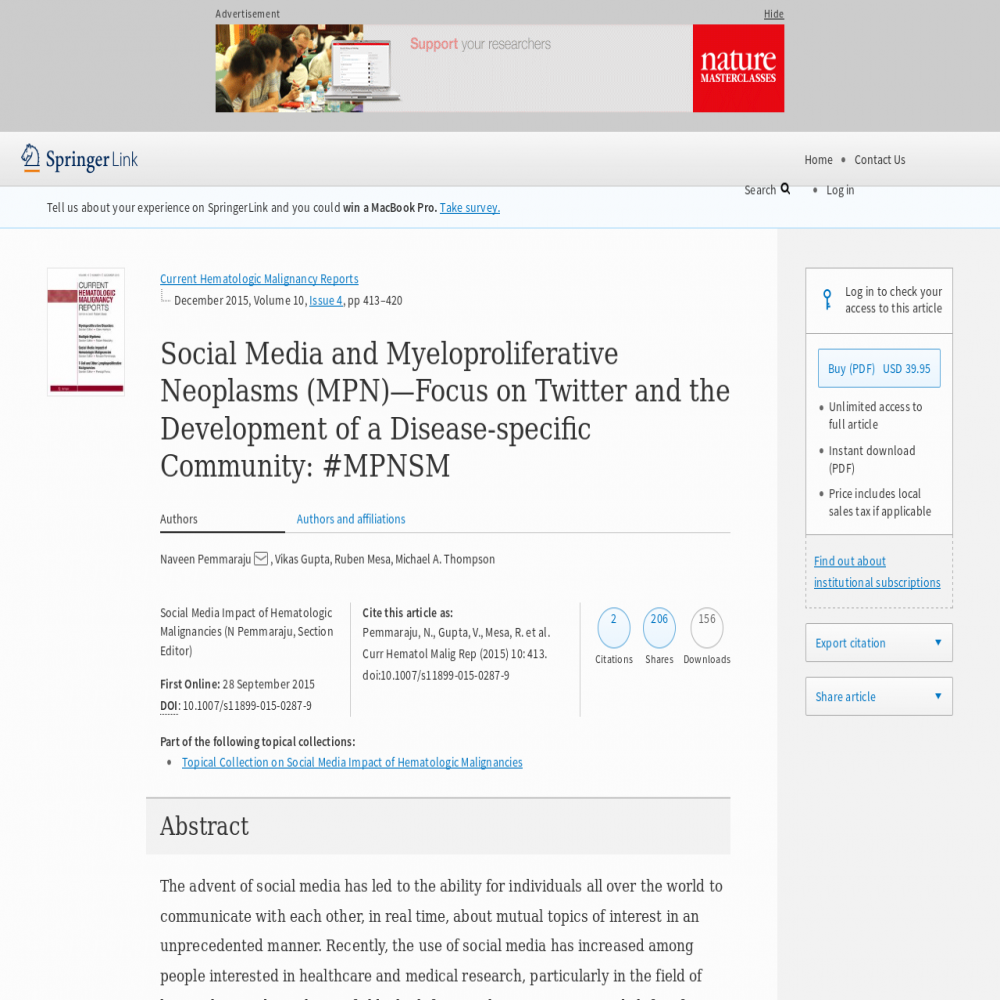 A healthcare social media research article published in Current Hematologic Malignancy Reports, September 27, 2015