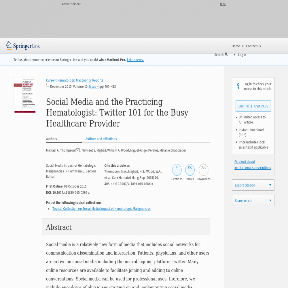 A healthcare social media research article published in Current Hematologic Malignancy Reports, October 8, 2015