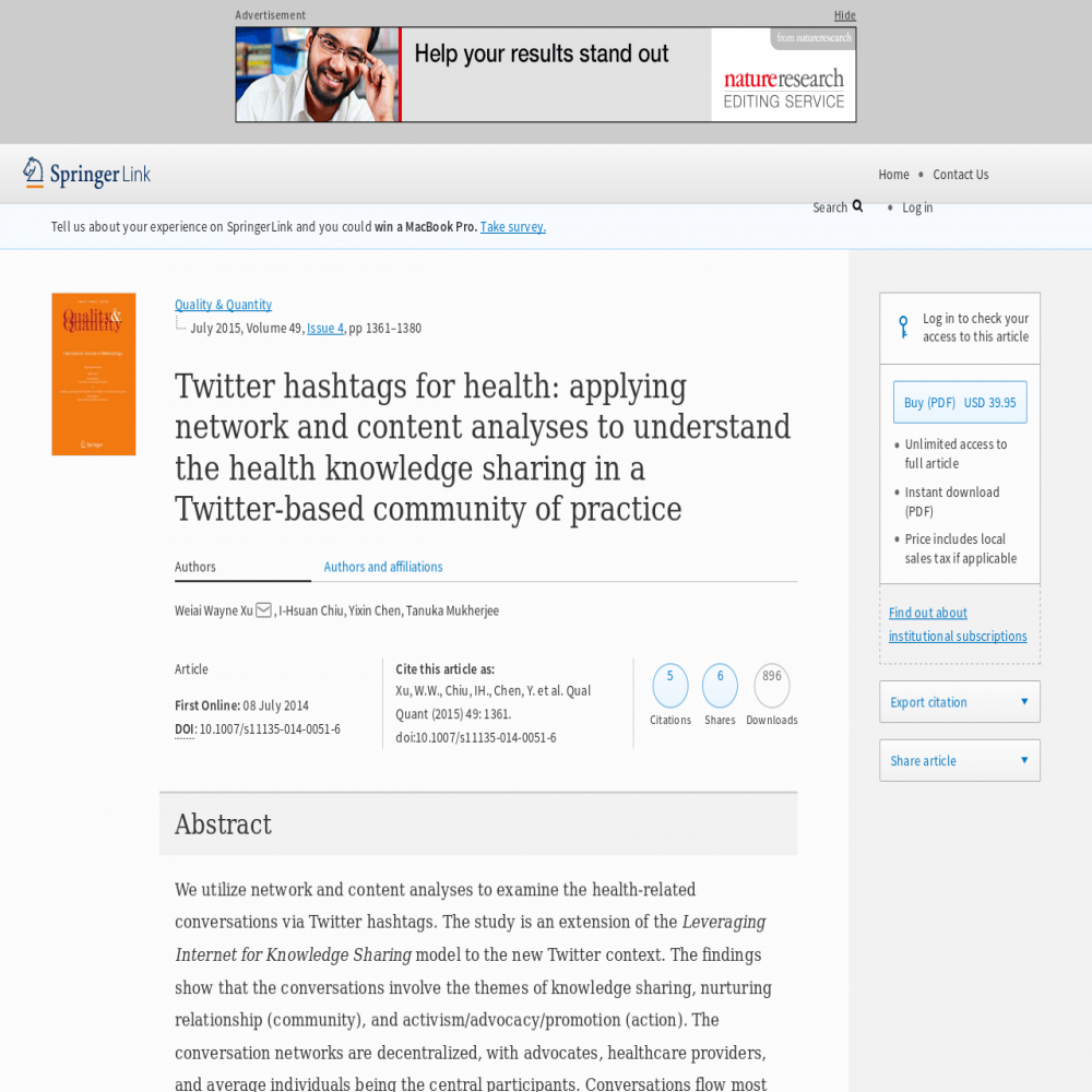 A healthcare social media research article published in Quality & Quantity, July 7, 2014