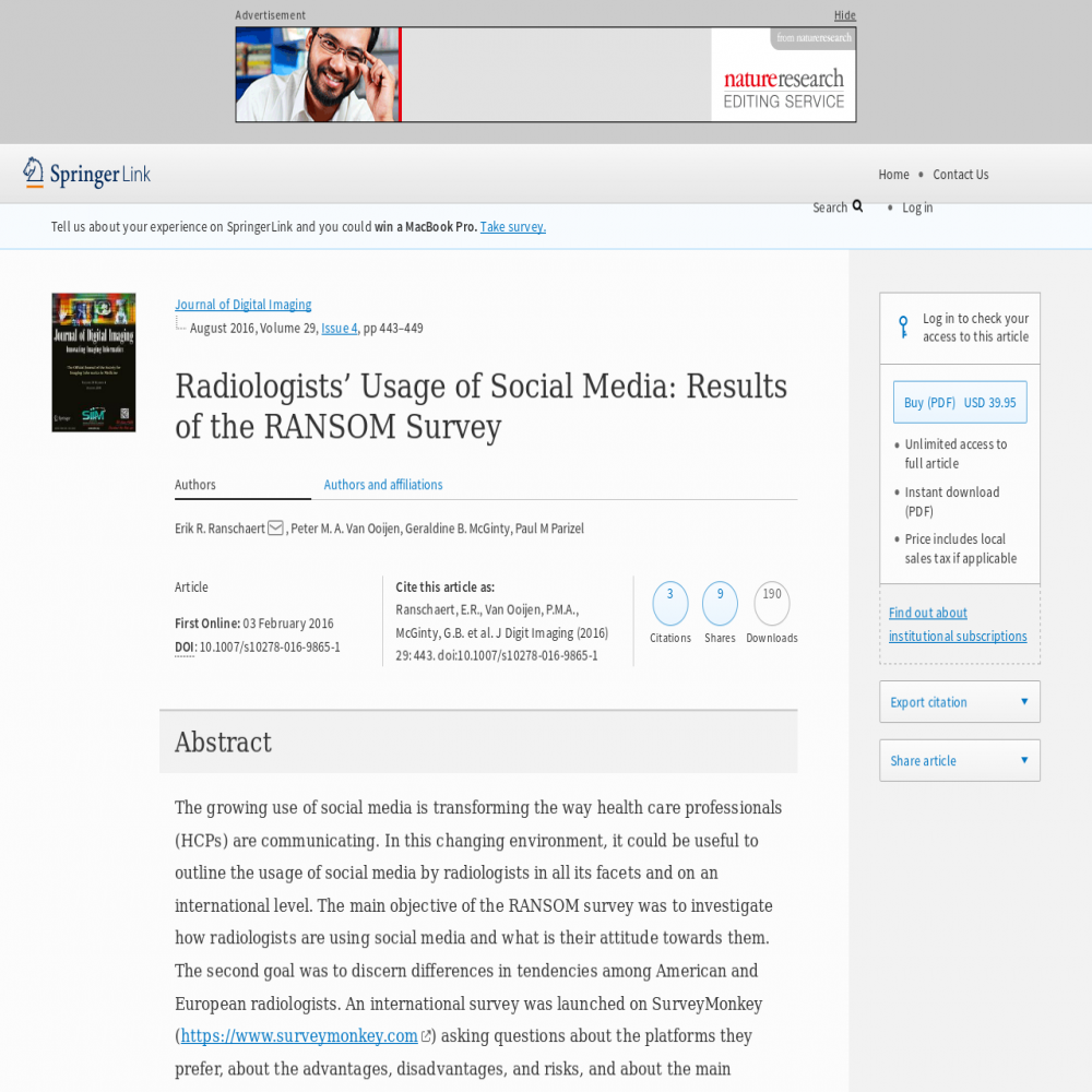A healthcare social media research article published in Journal of Digital Imaging, February 2, 2016