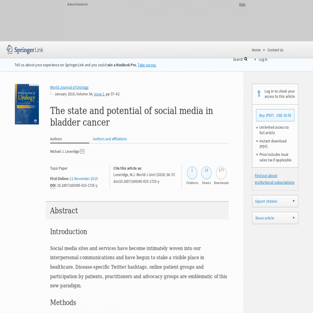 A healthcare social media research article published in World Journal of Urology, 2015