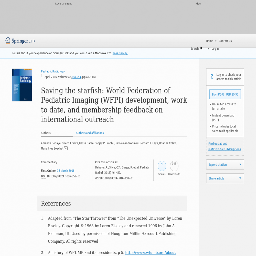 A healthcare social media research article published in Pediatric Radiology, 2016