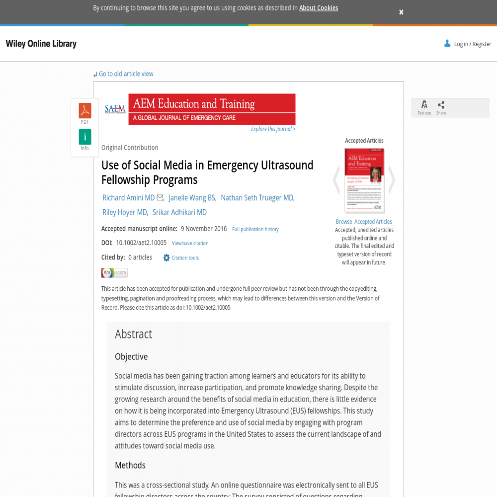 A healthcare social media research article published in AEM Education and Training: A Global Journal of Emergency Care, January 18, 2017