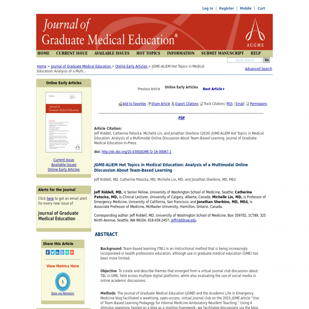 A healthcare social media research article published in Journal of Graduate Medical Education, 2016