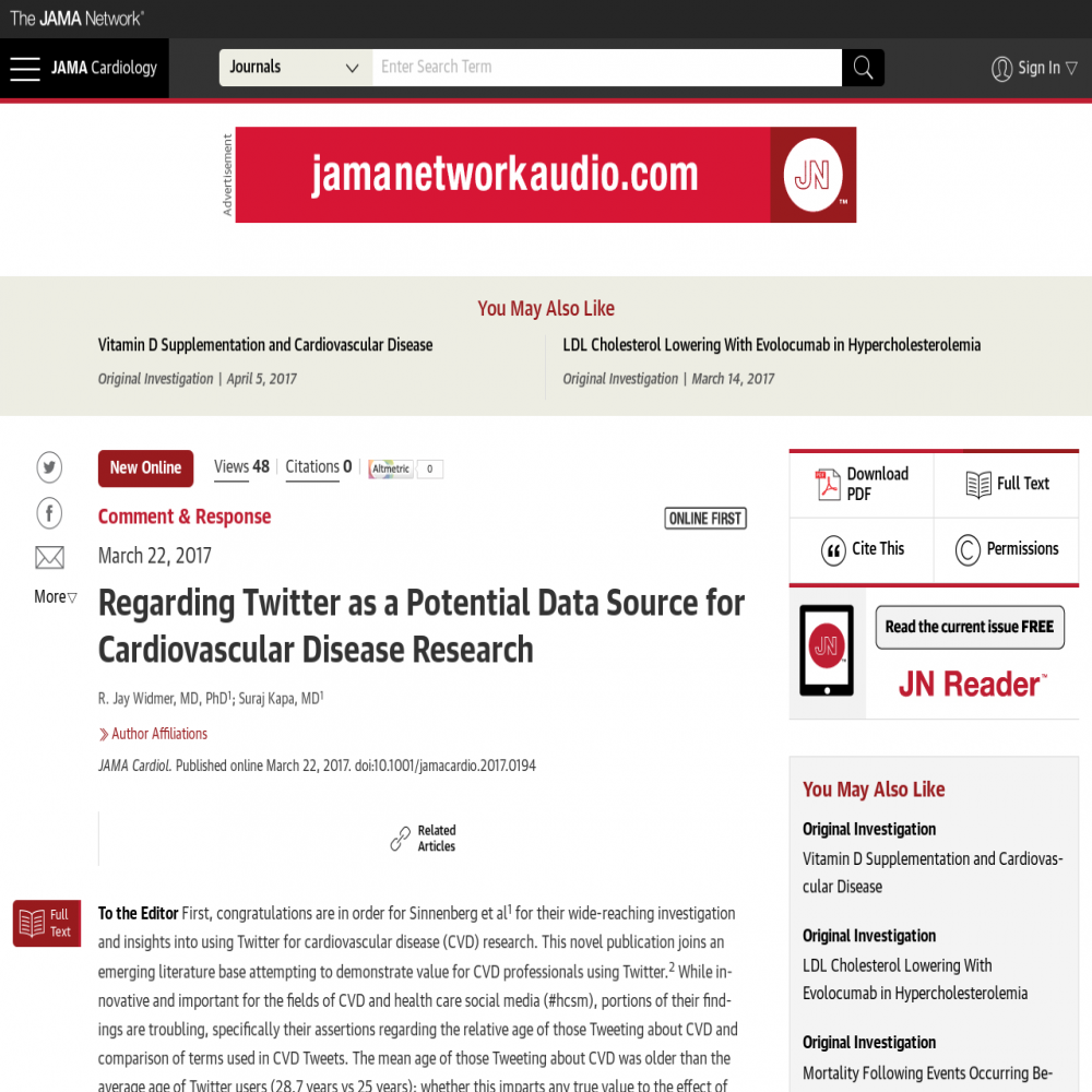 A healthcare social media research article published in JAMA Cardiology, June 30, 2017