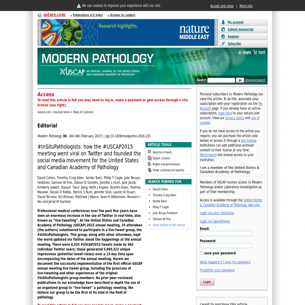A healthcare social media research article published in Modern Pathology, January 12, 2017