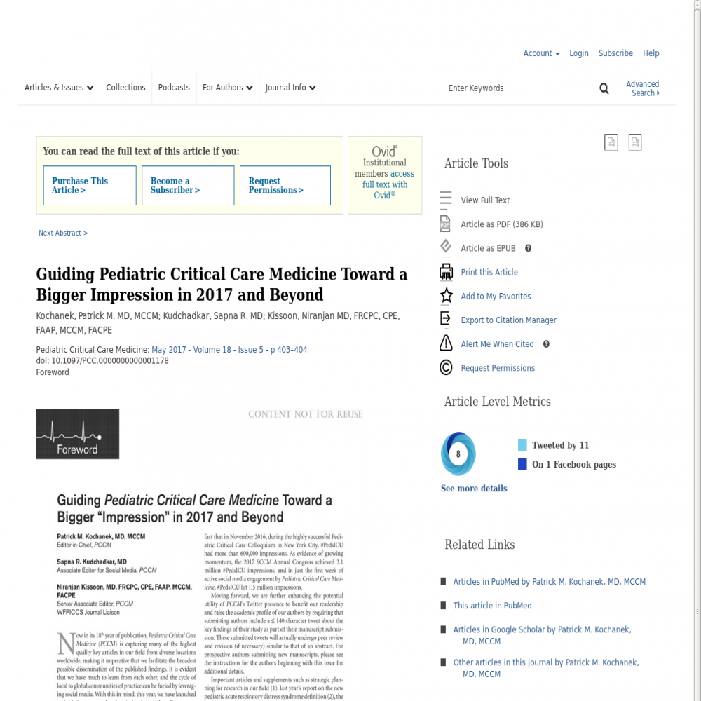 A healthcare social media research article published in Pediatric Critical Care Medicine, April 30, 2017