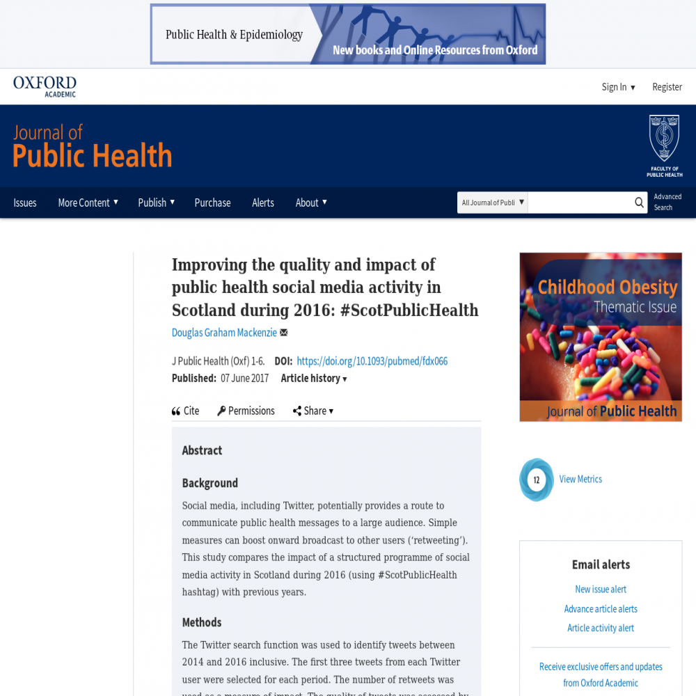 A healthcare social media research article published in Journal of Public Health, 2017
