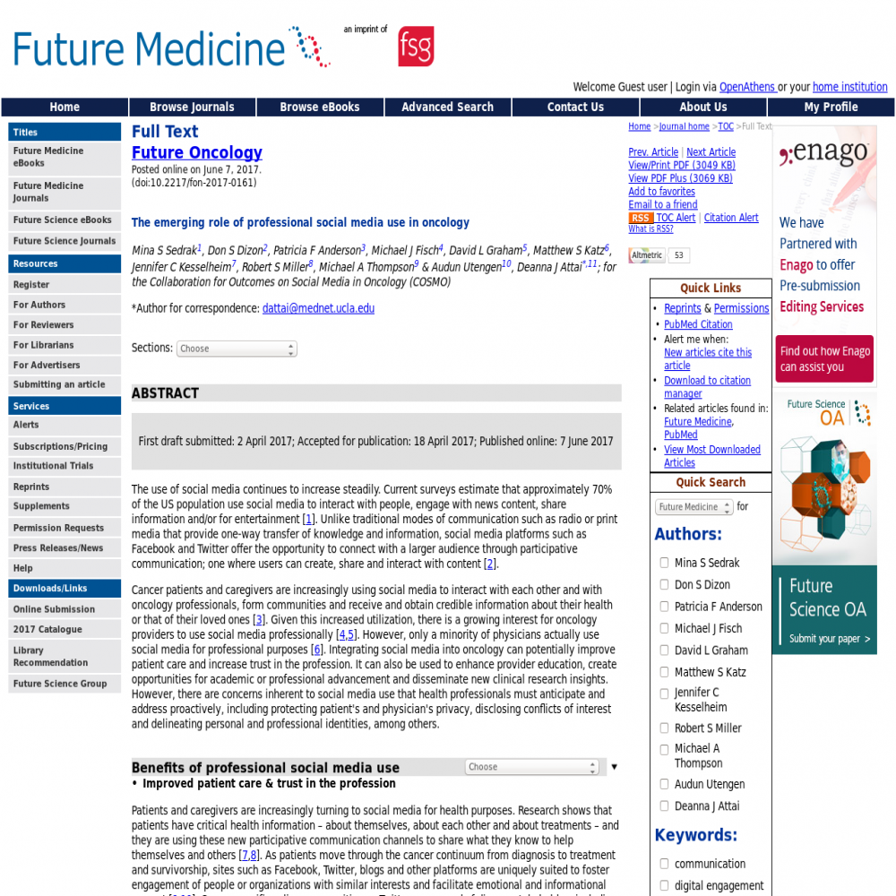 A healthcare social media research article published in Future Oncology, June 6, 2017